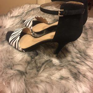 Black & White suede Zebra print heels